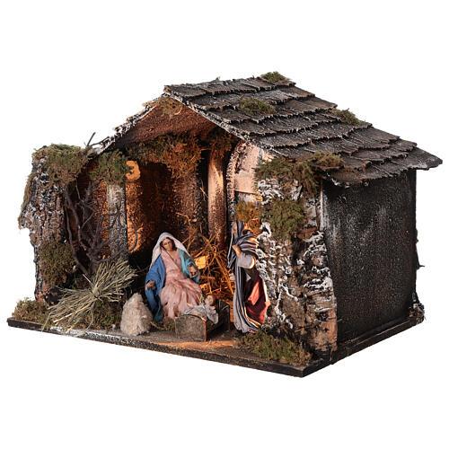 Capanna Natività illuminata statue terracotta 14 cm presepe napoletano 30x40x30 cm 3