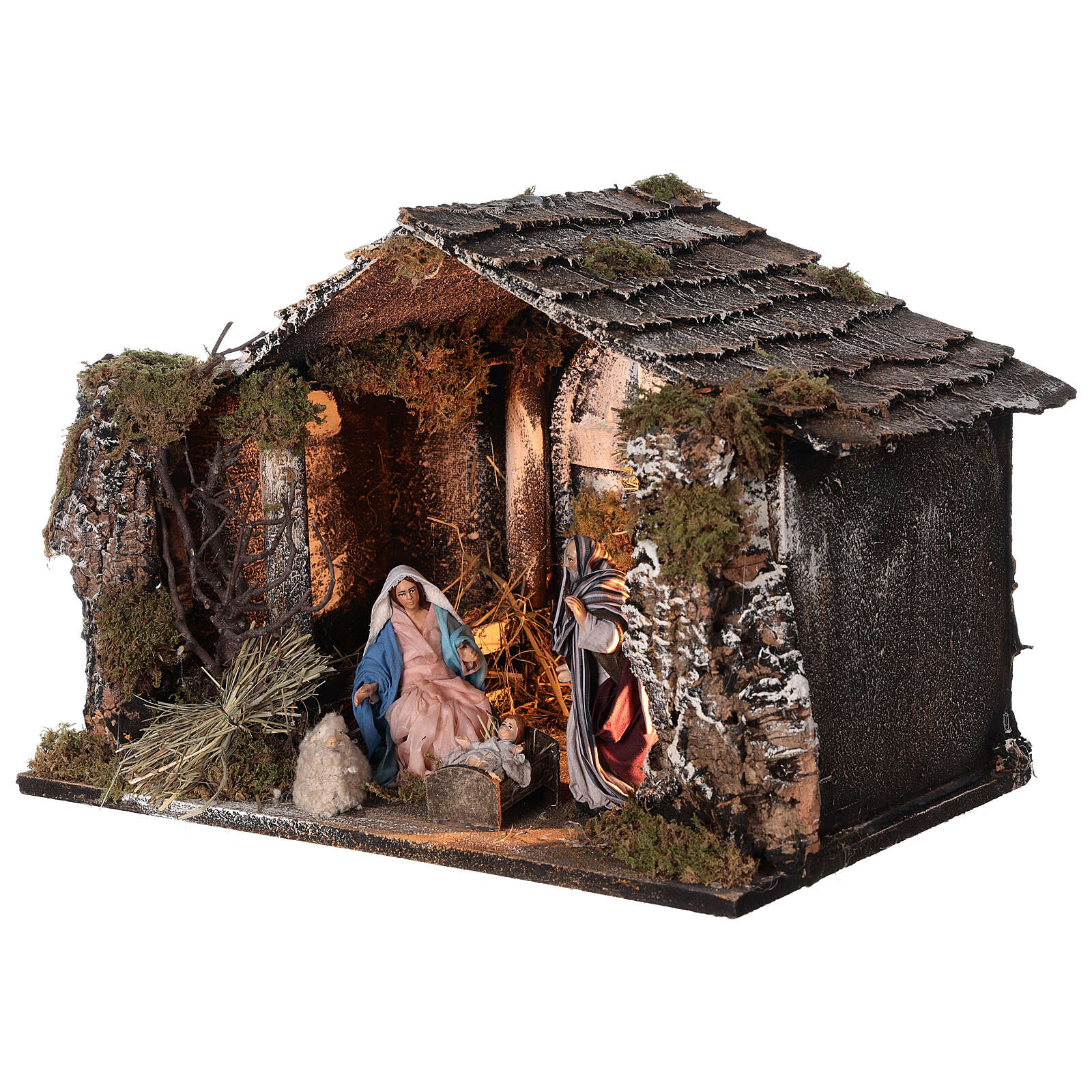 Lighted stable with Neapolitan nativity statues 14 cm terracotta 30x40x30 cm 4