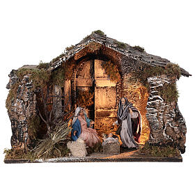 Lighted stable with Neapolitan nativity statues 14 cm terracotta 30x40x30 cm s1
