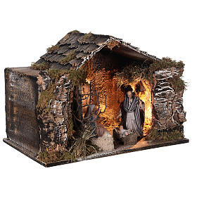 Lighted stable with Neapolitan nativity statues 14 cm terracotta 30x40x30 cm s4