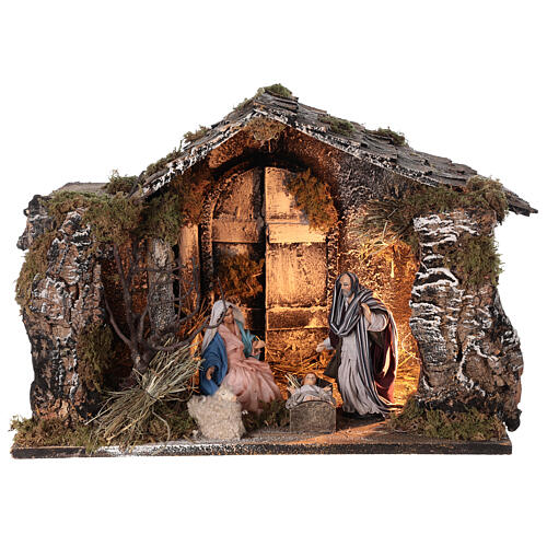 Lighted stable with Neapolitan nativity statues 14 cm terracotta 30x40x30 cm 1