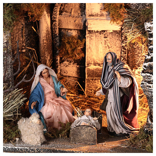 Lighted stable with Neapolitan nativity statues 14 cm terracotta 30x40x30 cm 2