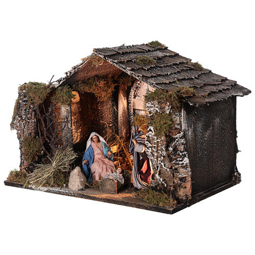 Lighted stable with Neapolitan nativity statues 14 cm terracotta 30x40x30 cm 3