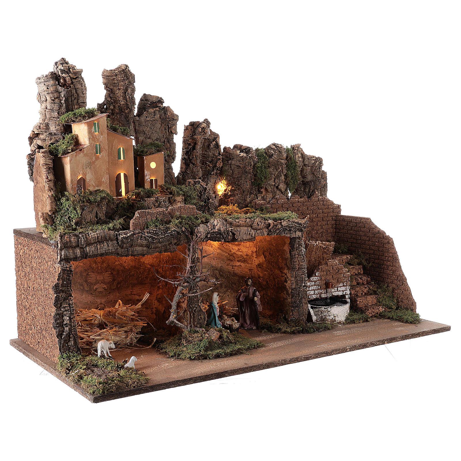 Pueblo fuente y luces con Natividad 50x75x40 cm belén 10 cm 4