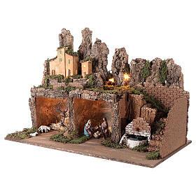 Pueblo fuente y luces con Natividad 50x75x40 cm belén 10 cm s3