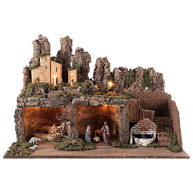 Village with fountain lights with Holy Family set 10 cm, 50x75x40 cm s1