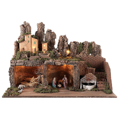 Village with fountain lights with Holy Family set 10 cm, 50x75x40 cm 1