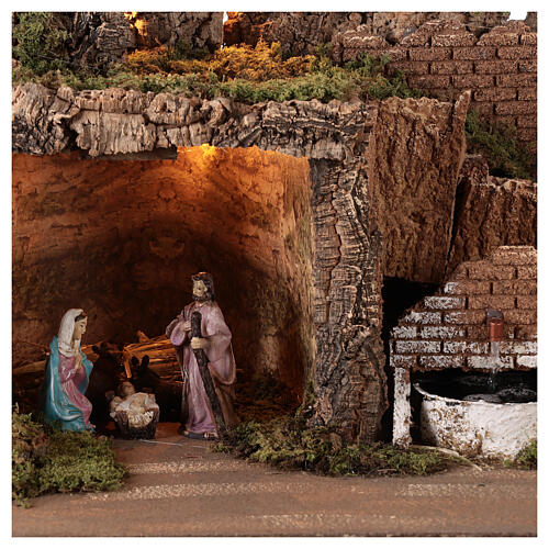 Village with fountain lights with Holy Family set 10 cm, 50x75x40 cm 2