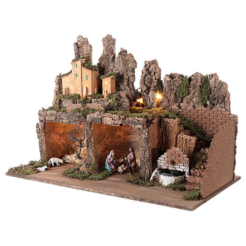 Village with fountain lights with Holy Family set 10 cm, 50x75x40 cm 3