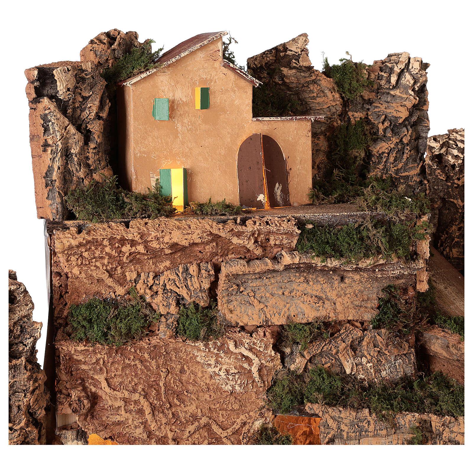 Décor village éclairé avec Nativité 10 cm 50x80x40 cm 4