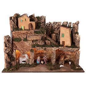 Décor village éclairé avec Nativité 10 cm 50x80x40 cm s1