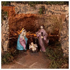 Décor village éclairé avec Nativité 10 cm 50x80x40 cm s2
