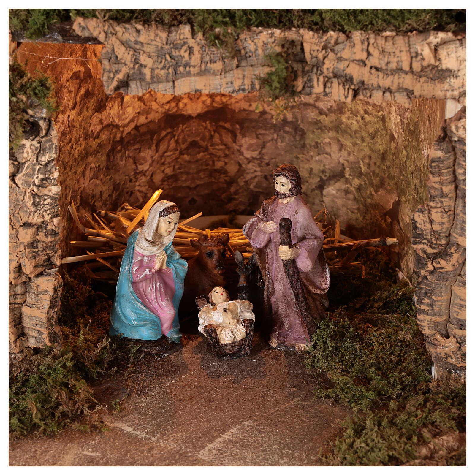 Lighted nativity scene village with 10 cm set, 50x80x40 cm 4