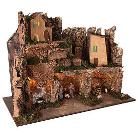 Lighted nativity scene village with 10 cm set, 50x80x40 cm s5