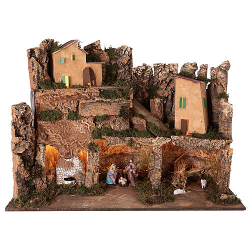 Lighted nativity scene village with 10 cm set, 50x80x40 cm 1