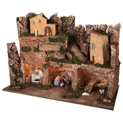 Lighted nativity scene village with 10 cm set, 50x80x40 cm 3