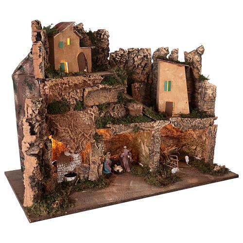 Lighted nativity scene village with 10 cm set, 50x80x40 cm 5