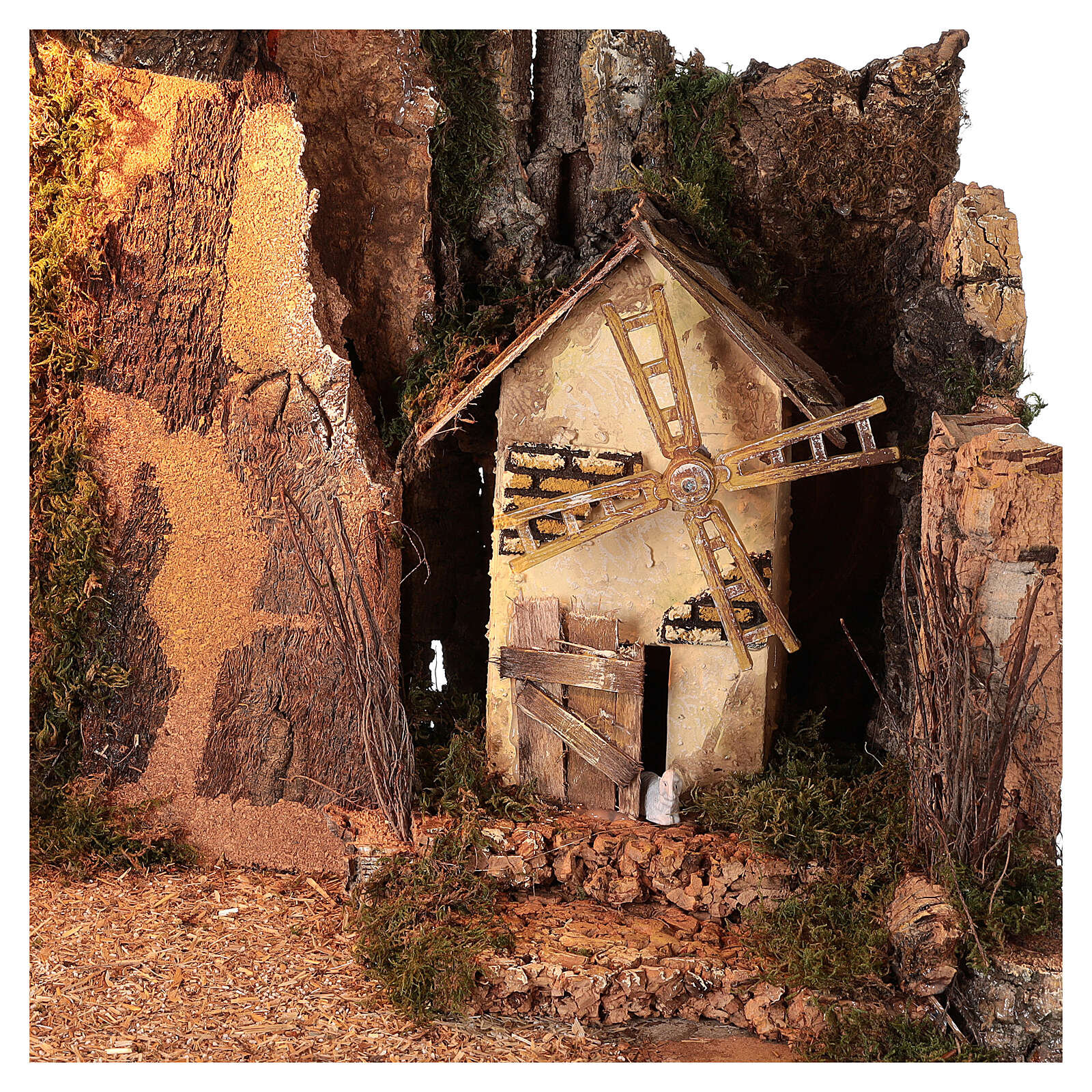 Cabane en coin éclairée moulin à vent 40x60x35 cm crèche 10 cm 4