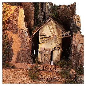 Capanna angolare illuminata mulino a vento 40x60x35 cm presepi 10 cm s2