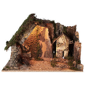 Lighted corner stable with windmill, 10 cm nativity 40x60x35 cm s1