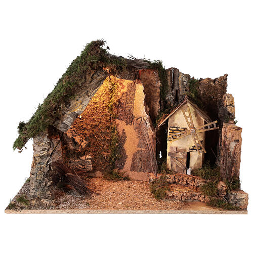 Lighted corner stable with windmill, 10 cm nativity 40x60x35 cm 1