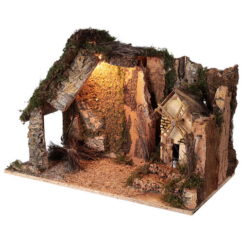 Lighted corner stable with windmill, 10 cm nativity 40x60x35 cm 3