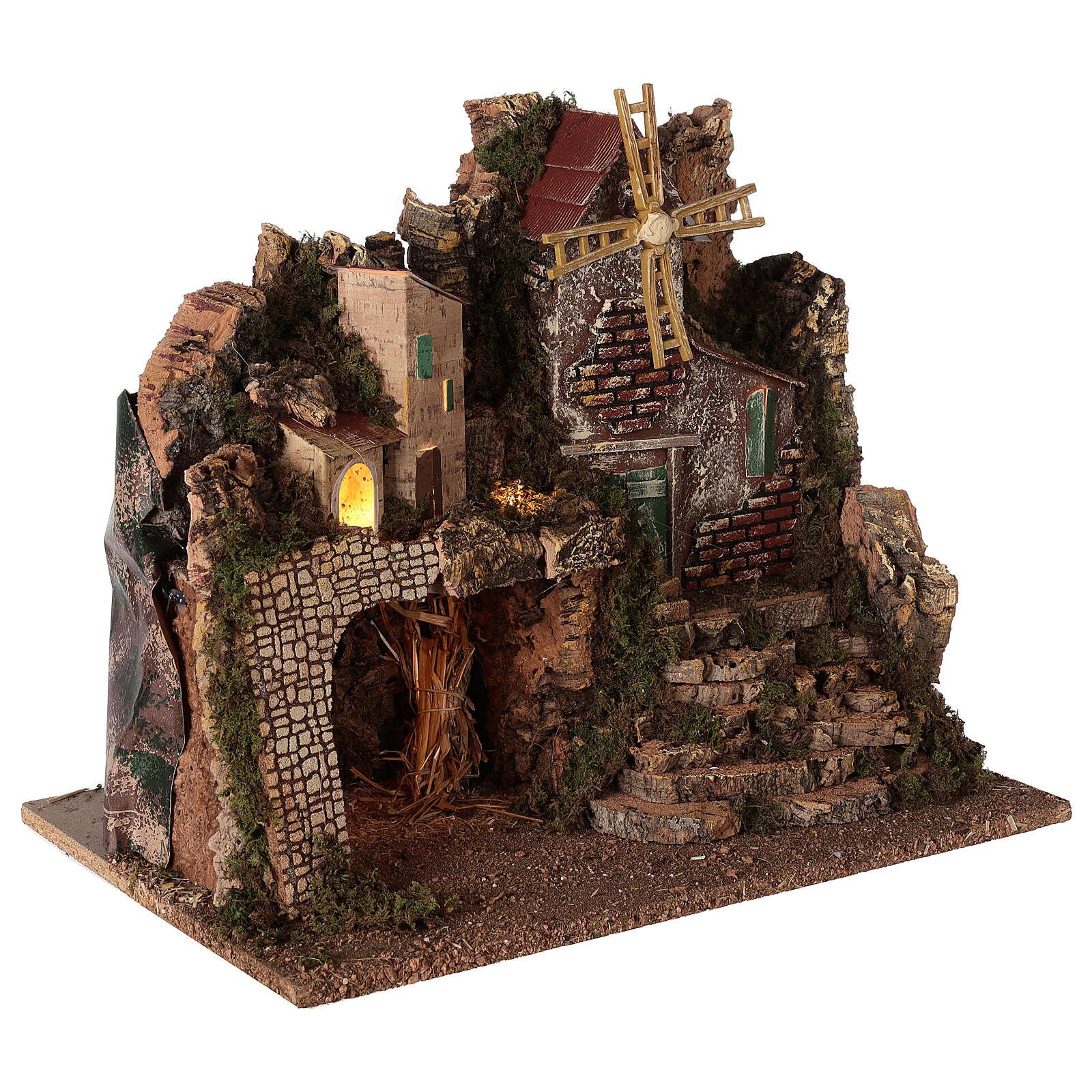 Borgo illuminato con scalinata 35x45x30 cm presepi 8 cm 4