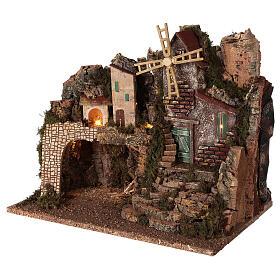 Borgo illuminato con scalinata 35x45x30 cm presepi 8 cm s2