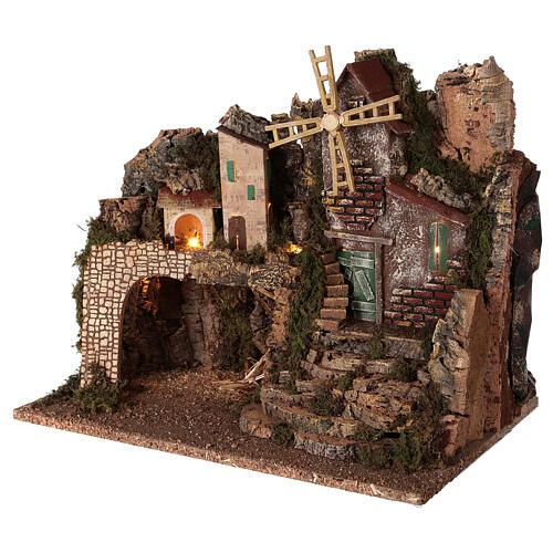 Borgo illuminato con scalinata 35x45x30 cm presepi 8 cm 2