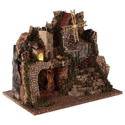 Borgo illuminato con scalinata 35x45x30 cm presepi 8 cm 3