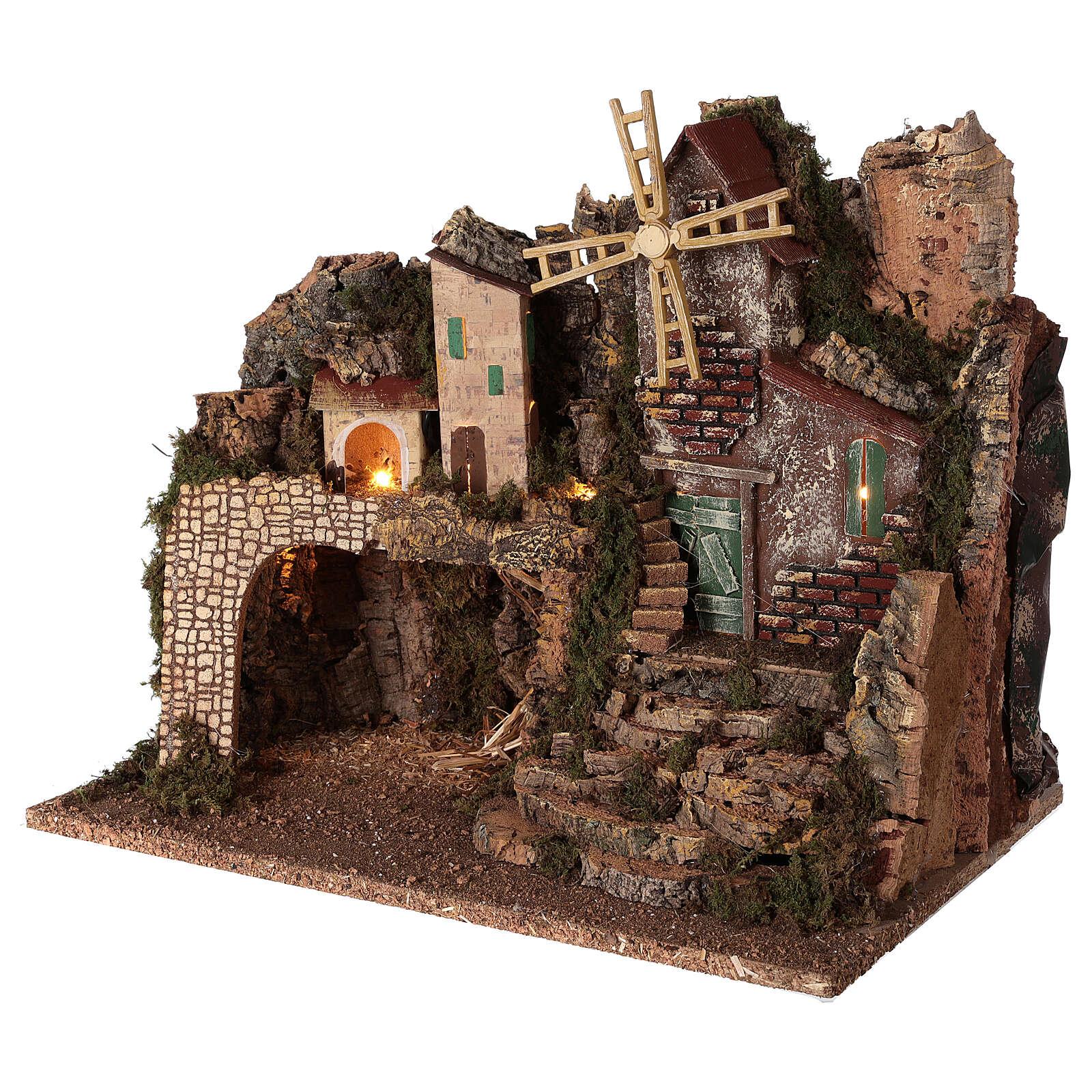 Lighted nativity village with steps 35x45x30 cm 8 cm nativity 4