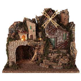 Lighted nativity village with steps 35x45x30 cm 8 cm nativity s1