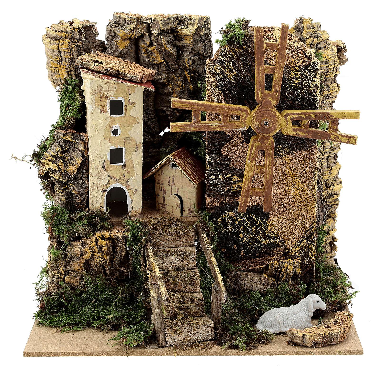 Windmill cottage 20x15x20 cm animated  4