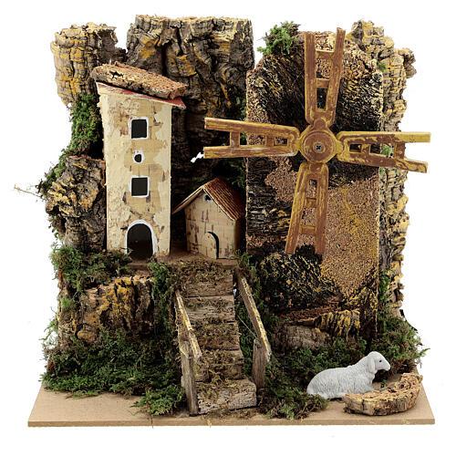 Windmill cottage 20x15x20 cm animated  1