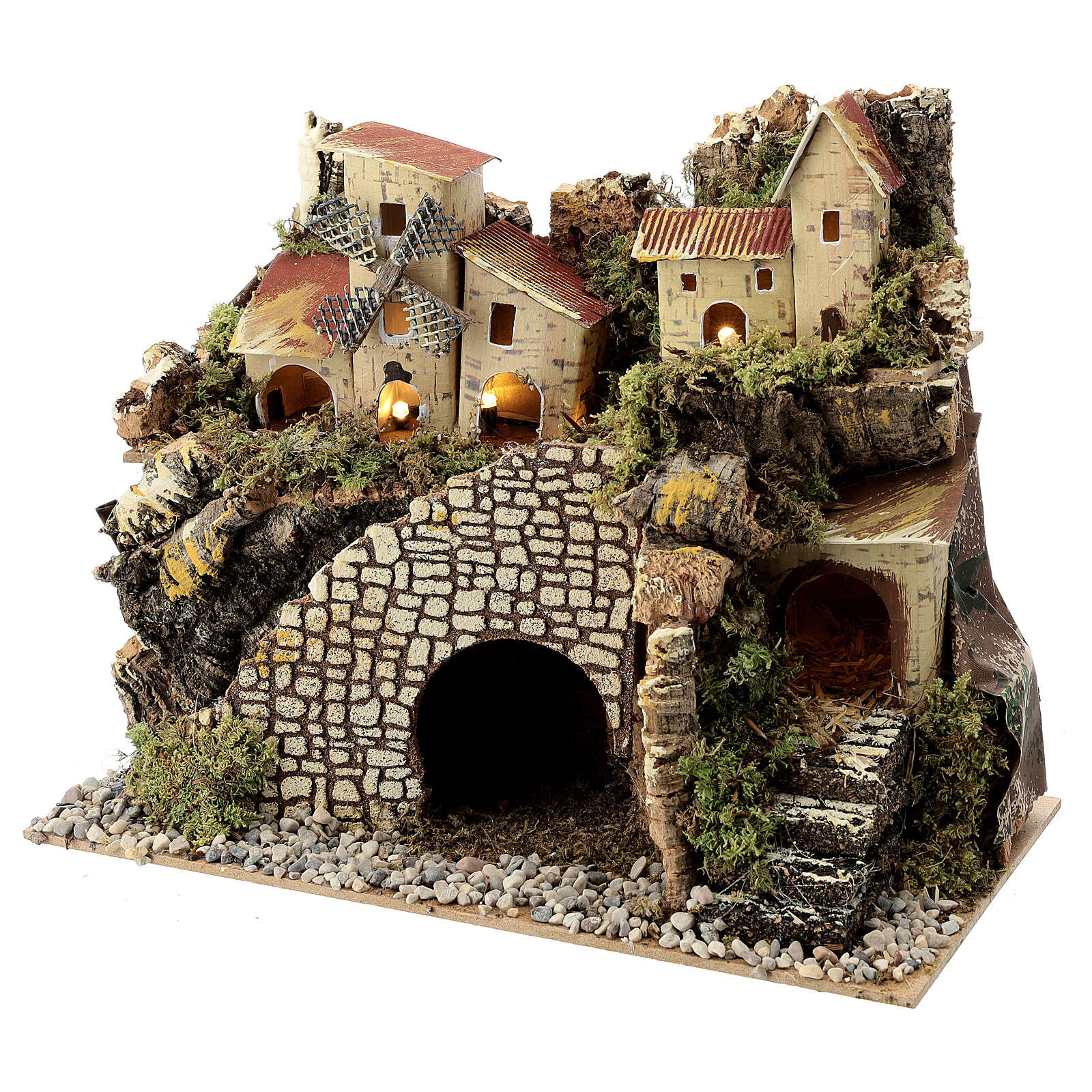 Village with staircase and mill 20X15X30 cm, nativity set 8 cm 4