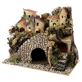 Village with staircase and mill 20X15X30 cm, nativity set 8 cm s2