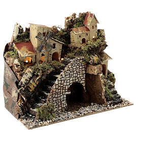 Village with staircase and mill 20X15X30 cm, nativity set 8 cm s3