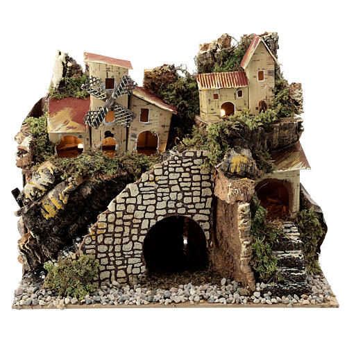 Village with staircase and mill 20X15X30 cm, nativity set 8 cm 1
