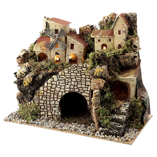Village with staircase and mill 20X15X30 cm, nativity set 8 cm 2