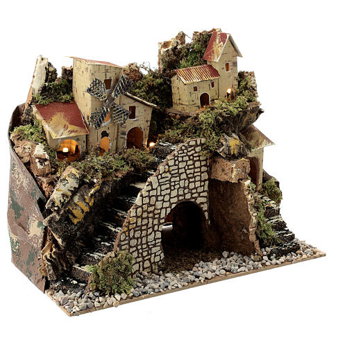 Village with staircase and mill 20X15X30 cm, nativity set 8 cm 3