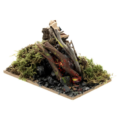 Wooden campfire with light effect 5x10x5 cm 2