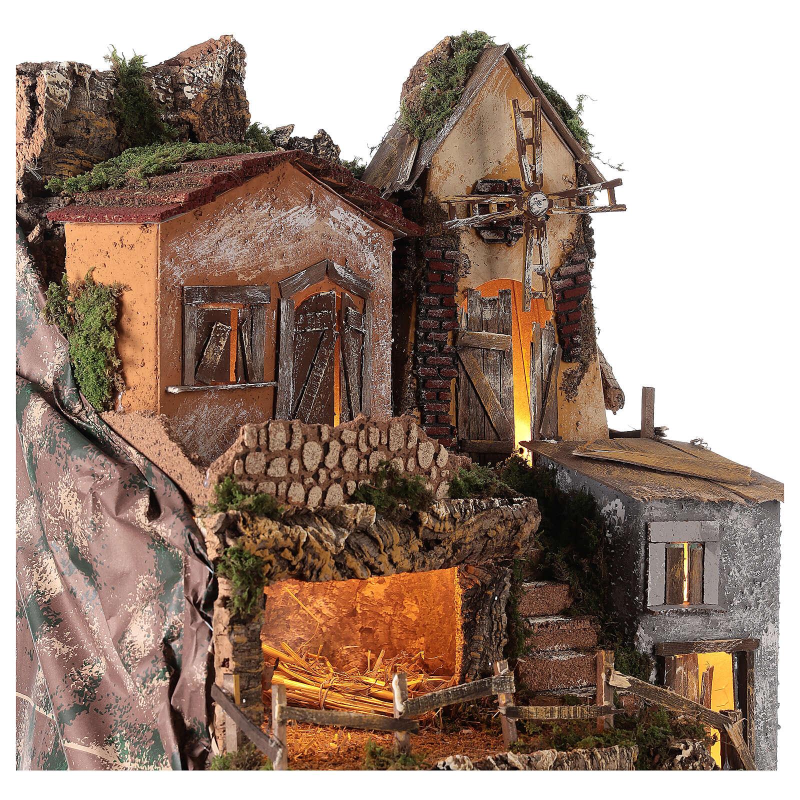 Borgo capanna mulino vento 70x55x50 cm presepi 10 cm MOD. D 4
