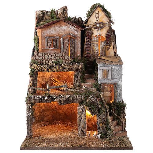 Borgo capanna mulino vento 70x55x50 cm presepi 10 cm MOD. D 1