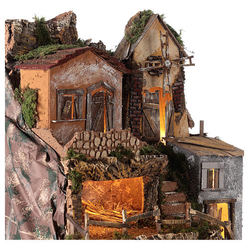 Borgo capanna mulino vento 70x55x50 cm presepi 10 cm MOD. D 2