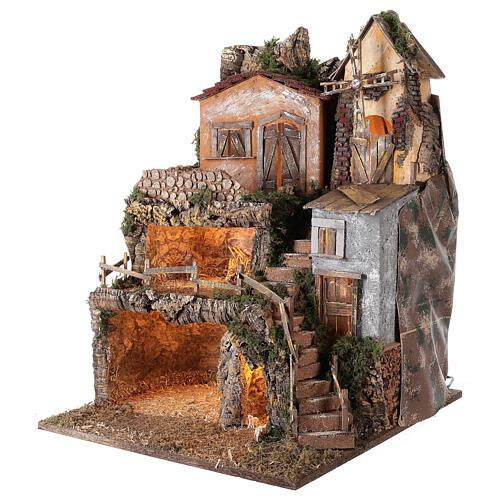 Borgo capanna mulino vento 70x55x50 cm presepi 10 cm MOD. D 3