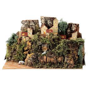 Maison entre les rochers avec moutons 25x35x20 cm crèche 6 cm s1