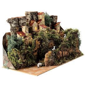 Maison entre les rochers avec moutons 25x35x20 cm crèche 6 cm s2
