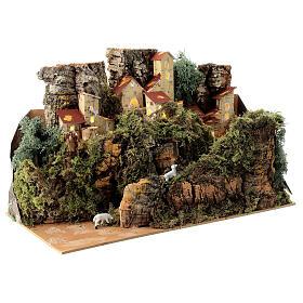 Maison entre les rochers avec moutons 25x35x20 cm crèche 6 cm s4