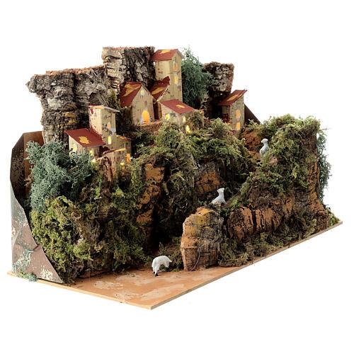 Maison entre les rochers avec moutons 25x35x20 cm crèche 6 cm 2