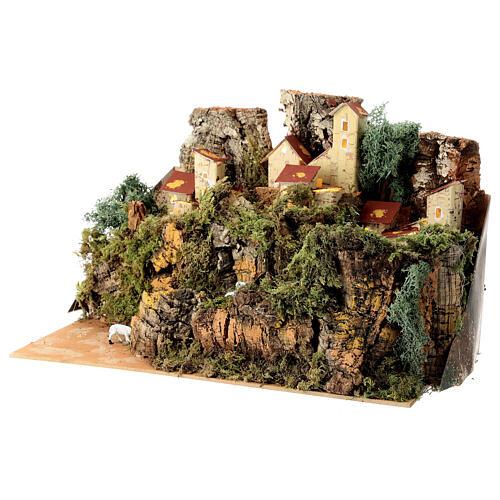 Maison entre les rochers avec moutons 25x35x20 cm crèche 6 cm 3